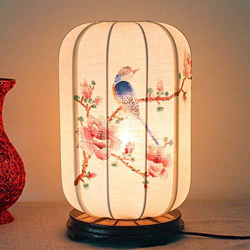 YZPTD Estilo chino lámpara de mesa de viento dormitorio chino pintado a mano mesa de cabecera sala de estudio casa de té retro creativo inn popular personalizado (Color : C)