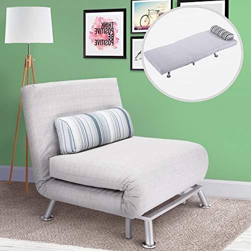 bakaji divano poltrona letto 1 posto singolo struttura in metallo rivestimento in cotone imbottito schienale reclinabile 5 posizioni dimensione 75x70x75cm (grigio)