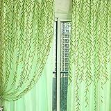 JUSTDOLIFE Vorhang Romantische Willow Blatt Schiere Vorhang Voile Vorhang für Dekor