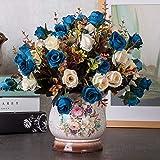 Flor Artificialflores Artificiales DIY Flores Y Jarrones Falsos Ramos De Plástico para La Decoración De La Oficina De La Boda De La Fiesta De Jardín En Casataladro De Otoño Azul Oscuro