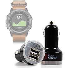 DURAGADGET Cargador Mechero Del Coche Para Smartwatch Garmin Fénix 3 / HR / Leather / Nylon / Titanium - Con Dos Puertos USB ¡Para Conectar Más De Un Dispositivo A La Vez!