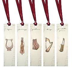 Idea Regalo - J. Momo Modern & musica classica attrezzatura rettangolare per segnalibro con nastro, verde, rosso, argento, marrone, champagne e Canarie, confezione da 5 Red Ribbon