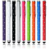 9 X Puntero Bling Styli pantalla táctil teléfono celular Tablet Plumas para el iPhone 5 5S 5C 4 4S 3G 3GS iPod Touch iPad 2 3 4 Aire SONY PLAYSTATION PSP PS VITA Motorola Xoom, Samsung Galaxy, BlackBerry Playbook AMM0101US, Barnes and Noble Nook color, Droid Bionic