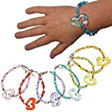 German Trendseller® - 12 x Kristall Armbänder für Kinder ┃ Schmuck Herzen┃ Kindergeburtstag ┃ Mitgebsel ┃ Kinderschmuck ┃ 12 Stück