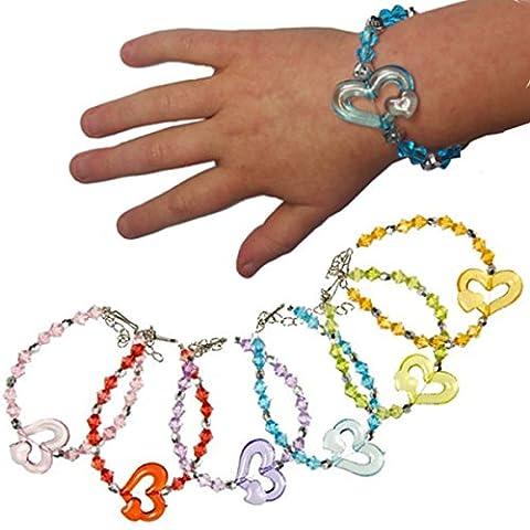 German Trendseller® - 12 x Kristall Armbänder für Kinder ┃ Schmuck Herzen┃ Kindergeburtstag ┃ Mitgebsel ┃ Kinderschmuck ┃ 12
