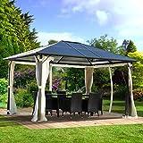 BRAST Alu Pavillon 3x4m festes Dach wasserdicht Moskitonetz 100% Aluminium Festzelt Partyzelt Garten Zelt Pavilon Pavillion Gartenzelt