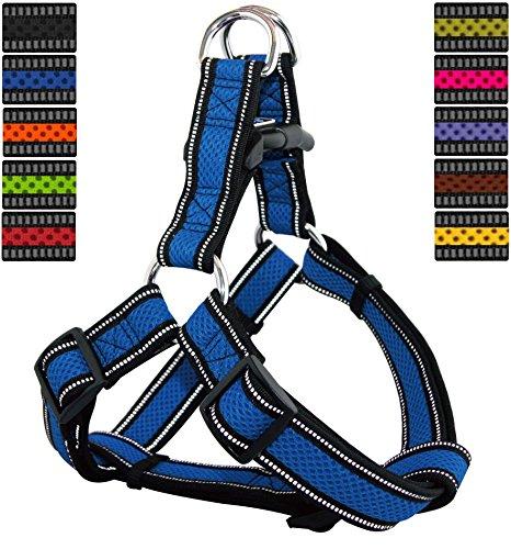 DDOXX Hundegeschirr Reflektierend Step-In Air Mesh   für große, mittelgroße, Mittlere & Kleine Hunde   Geschirr Hund   Katze   Brustgeschirr   Softgeschirr   Blau, M - 2,5 x 53-77 cm
