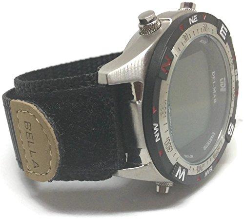 Velcro correa para reloj negro 18mm con anillo inoxidable