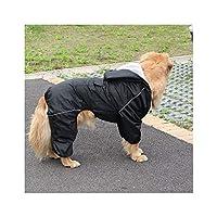 Hopereo Large Dog Raincoat Waterproof Clothes Coat Rain Jacket Reflective Medium Large Big Dog Breathable Mesh,Black,4Xl