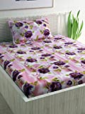 Divine Casa 100% Cotton Floral Single Bedsheet with 1 Pillow Cover - Purple and Pink