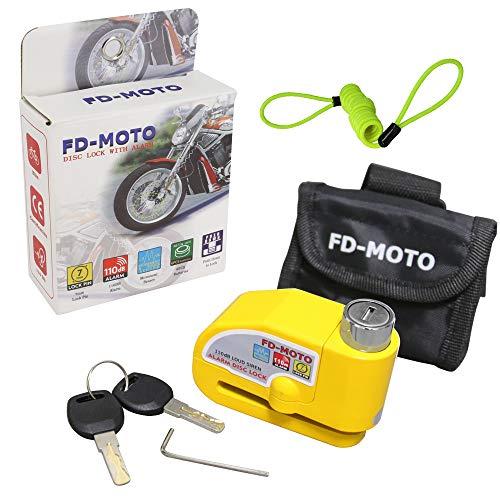 FD-MOTO 110dB Bremsscheibenschloss Alarm Scheibenschloss 7mm Pin mit 1.5m Erinnerungskabel & Tasche Motorradschloss für Motorrad und Fahrrad