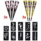 6x Henna Tattoo Temporäre Tattoo Natürliche + 10x Henna Tattoo Schablone,Temporäre Mehndi Tattoos, Natürliche Kegel, Tattoo sticker, Temporäre Tätowierung (Schwarz & Braun)