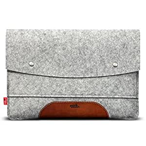 "Pack & Smooch iPad Pro 10.5"" Hülle Sleeve Case 100% Wollfilz Pflanzlich Gegerbtes Leder - Handmade in Germany, Grau/Hellbraun"