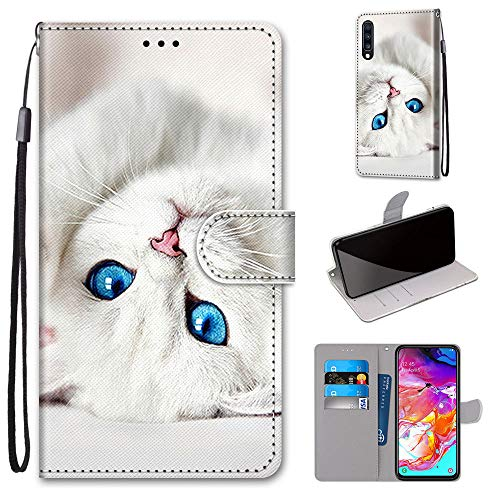 Miagon Flip PU Leder Schutzhülle für Samsung Galaxy A70,Bunt Muster Hülle Brieftasche Case Cover Ständer mit Kartenfächer Trageschlaufe,Weiß Katze
