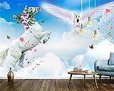 BZDHWWH Benutzerdefinierte Tapete Wandbild Blauer Himmel und Weiße Wolken Springen Himmel Pferd Fresko Wand Dekorative Malerei 3D Tapete Behang,200cm (H) x 300cm (W)