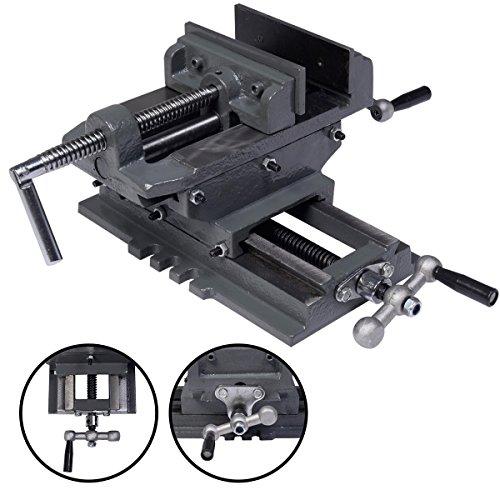 COSTWAY 2-Achsen Maschinenschraubstock Schraubstock Kreuztisch Tischschraubstock Frästisch Fräs Koordinaten Bohrtisch 85mm