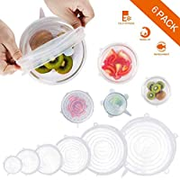 Befound Silicone Stretch Lids,6 Pack Reusable Durable and Expandable Lids to Keep Food Fresh,Fit Various Sizes and Shapes of Containers Food Covers or Bowl Covers,6 Sizes, White