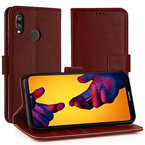 Simpeak Ersatz Huawei P20 Lite Leder Hülle, Flip Wallet Case Cover Ersatz Huawei P20 Lite [Kartensteckplätze] [Stand Feature] [Magnetic Closure Snap],rot Rot Cover Case Snap