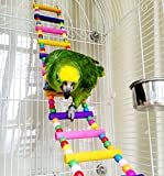 Wood Climbing Ladder Toy for Bird Parrot Budgie Parakeet Cockatiel Macaw African Grey Cockatoo Rat Gerbil Mice Chinchilla Guinea Pig Squirrel Cage Perch