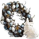 Dekokranz Osterimpressionen - Türkranz mit Kunststoff-Eiern - Braun Blau Weiß - ca. Ø 48 cm