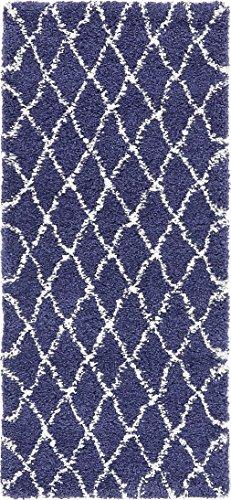 Unique Loom Rabat Shag Collection Geometrisches Spalier Beni Ourain Plüsch Pure Modern 3' x 6' Runner Marineblau