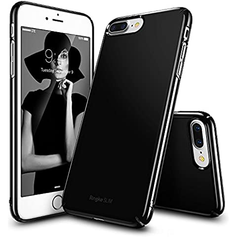 Funda iPhone 7 Plus, Ringke [SLIM] ajuste en el mango Slender [Tailored recortes] ultra-delgada de fluido borde curvado Mejorar la piel cubierta de la caja protectora lightweigt Superior de revestimiento dura de la PC para Apple iPhone 7 Plus - Gloss Black