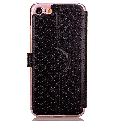 iPhone Case Cover PU Leather Window Case Grille Lattice motif Flip Stand Case couverture avec slot pour carte pour iPhone7 ( Color : Black , Size : Iphone 7 ) Black