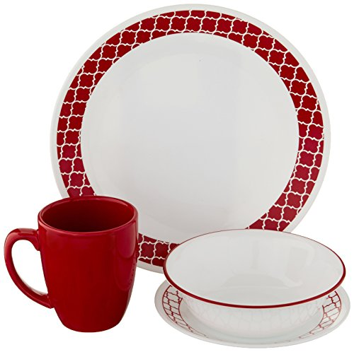Corelle Crimson-Gitter Chip und bruchfest Abendessen-Set, Glas, rot, Set von 16 (Correlle Teller Weiß)