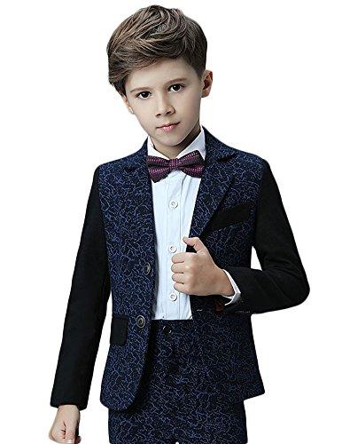 Icegrey Jungen Anzug 5 Stück Smoking Festlicher Barockdruck Jacke Hemd Weste und Hose Anzug für Kommunion Fest Taufe Hochzeit Tiefes Blau 110 Jahren 4 (3 Anzug Maßgeschneiderte Stück)