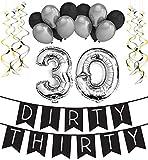 Sterling James Co. Dirty Thirty – 30. Geburtstag Party Set – Schwarz & Silber Happy Birthday Girlande, Poms und Spiralgirlanden – lustiges Geschenk Deko