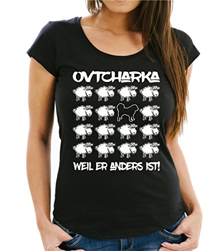 Siviwonder WOMEN T-Shirt BLACK SHEEP - OVTCHARKA kaukasischer - Hunde Fun Schaf Schwarz