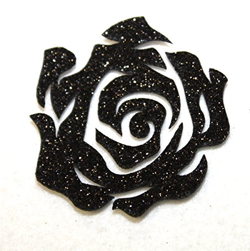 1 Rosa Nera Glitter thermocolant hotfix Patch Custom Bling Scintillante n. 81 nera