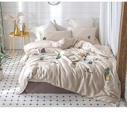 qwe Vier-teiliges Set Tencel 60 importiertes Lanjing dreidimensionales Handtuch Stickerei Stickerei Cactus Lysell Naked Bettwäsche (Size : M) - Importierte Bettwäsche