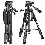 Neewer Portable 56 inches/142 centimeters Aluminum Alloy Camera Tripod with 3-Way Swivel Pan Head, Carrying Bag for Canon Nikon Sony DSLR Camera,DV Video Camcorder Load Capacity 8.8 pounds/4 kilograms