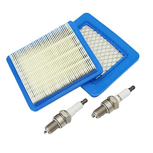 SWNKDG 2ST Luftfilter für Briggs & Stratton Motoren 625 650 675 491588s 399959, Zündkerzen (Bitte überprüfen Sie die Größe der Zündkerze auf dem Bild)