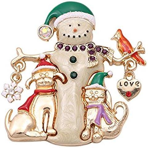 Regalo di natale pupazzo di neve spilla Pins forma con cristalli placcato oro per le donne–Spilla di Natale - Pupazzo Pin Spilla