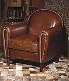 Phoenixarts Echtleder Vintage Sessel Ledersessel Braun Antik Design Lounge Clubsessel Sofa Möbel 444