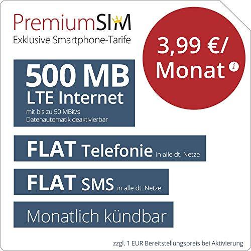 PremiumSIM LTE 500 MB monatlich kündbar (Flat Internet 500 MB LTE mit max. 50 MBit/s mit deaktivierbarer Datenautomatik, Flat Telefonie, Flat SMS und Flat EU-Ausland, 3,99 Euro/Monat)