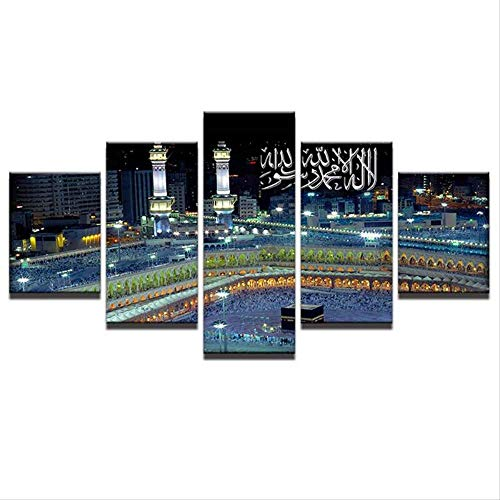 Wandkunst Leinwand MalereiRoom Home Decor 5 Stücke Islamischen Moschee Schloss Landschaft Bilder Allah Der Koran Poster Größe 2 Kein Rahmen