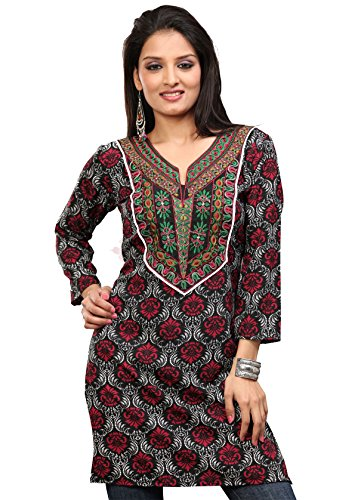 Maharanis Original Indische Kurti Tunika schwarz-weiss gemustert mit Bestickung L- Gr. 40/42 (Shirt Kurti Tunika)