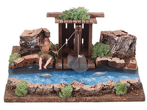 Bertoni river parte in legno con pescatore barrack, legno, taglia unica