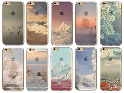 Coque iPhone 6 6s Housse étui-Case Transparent Liquid Crystal en TPU Silicone Clair,Protection Ultra Mince Premium,Coque Prime pour iPhone 6 6s-Paysage-style 6 10