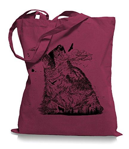 Wolf Mountain Stoffbeutel  Rettet die Wölfe Tragetasche Cranberry