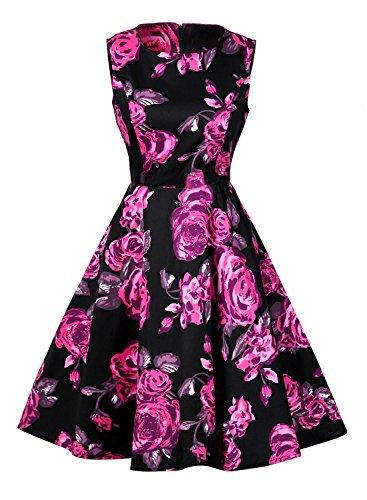 Futurino Damen Frühling/Sommer Casual Vintage Retro Elegant Floralem 1950s Audrey Hepburn Schwingendem A-Linie Midi Kleider Kurz Strand Urlaub L Schwarz Rose