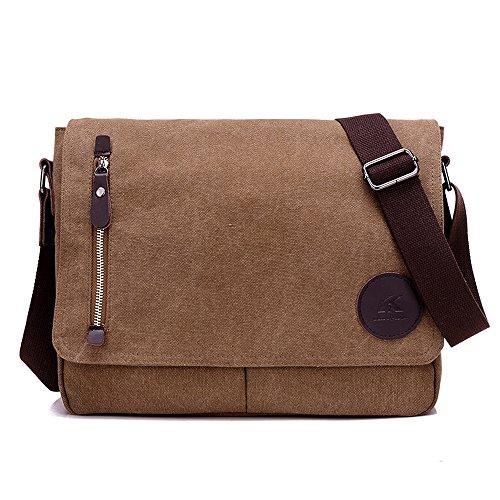 WeeDee Umhängetasche Aktentasche Laptoptasche 13,3 Zoll Messenger Bag Schultasche Lehrertasche Schultertasche Herren Tasche Herrentasche (Braun)