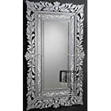 Venetian Image Decorative Wall Mirror For Living Room Entrance Makeup Bathroom | Mirror Glass Stylish Frame | Silver Small - B07K28QVP2