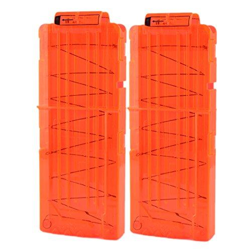 LDB SHOP Soft Bullet Clip für 12 Darts für Nerf N-Strike Elite Serie Spielzeuggewehre-Transparent Orange 2pcs
