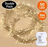 Weihnachtsbeleuchtung, Lichterkette 50 LED Warmweiß Innen- und Außen 8 Modi mit Speicher & Timer Funktionen, Batteriebetrieben - 5m / 16ft Lit Länge Clear Cable - 2er Pack