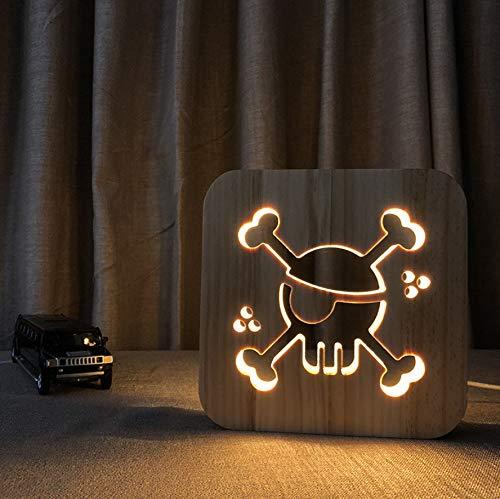 (3D LED Nachtlicht Pirat, Der Die Nachttischlampe Der Kreativen Produkte Des Nachtlichtes 3D Der Nachttischlampe Des Kreativen Holzes Der Kreativen Nacht Festlegt)