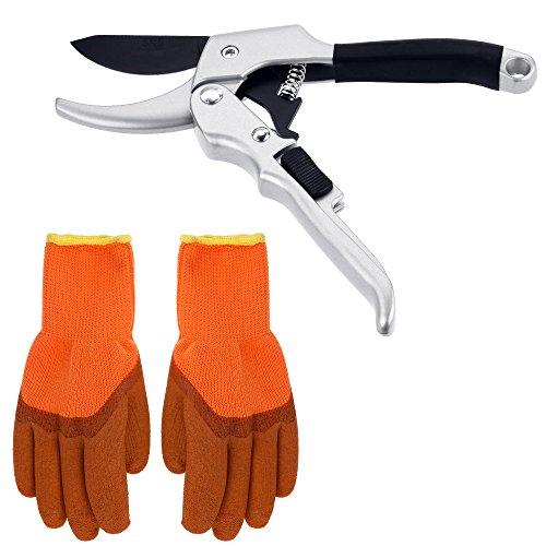 Zacro Gartenschere Set Baumschere mit Handschuhe aus SK5 Stahl Max. Schneiddurchmesser 35mm